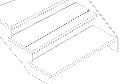 schéma emmarchement escalier. Une flèche montre la largeur d'une marche.