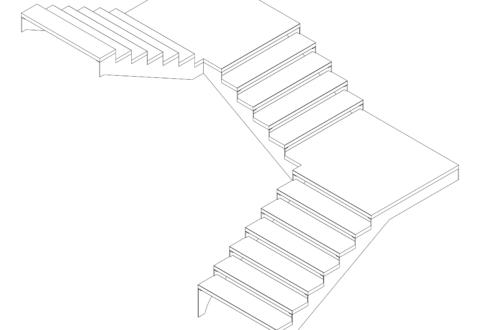 Schéma représentant plusieurs volées d'escaliers