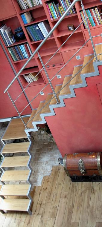 escalier droit quart tournant acier bois